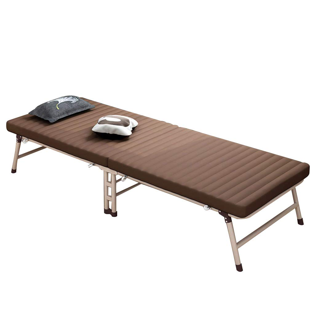 Klappbett, einzelne Mittagspause einfaches Büro Recliner faul Outdoor Portable, Lager etwa 300kg (Color : Brown, Size : 190 * 63cm)