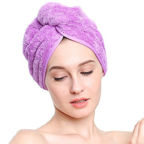Purple Lightweight Towel Master Turban Hair Towel,Spa Days Luxury Absorbent