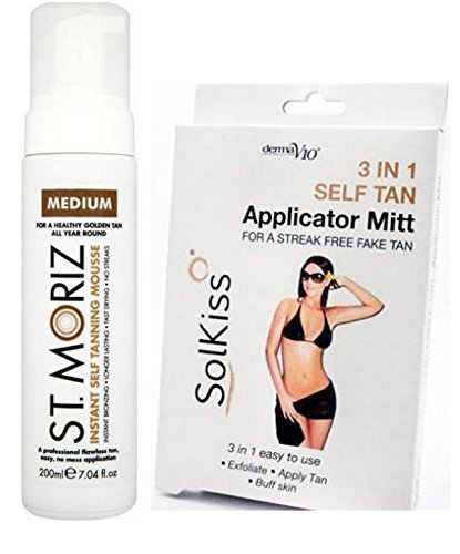 St Moriz Instant Self Tanning Mousse Medium 200ml & 3 in 1 Tanning Mitt by St Moriz