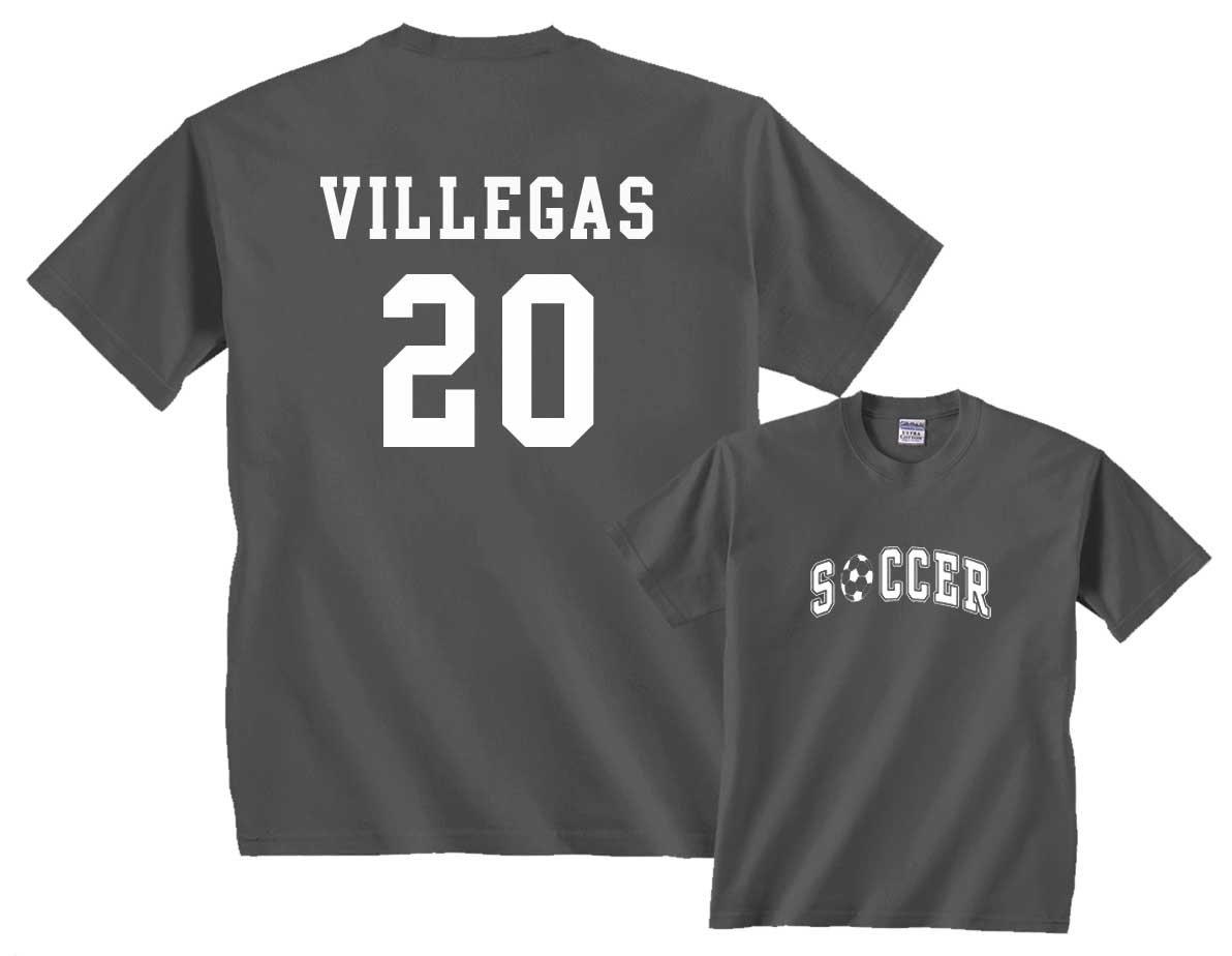 カスタムサッカーTシャツ B01MEF0K8L Youth Large|Charcoal/White Print Charcoal/White Print Youth Large