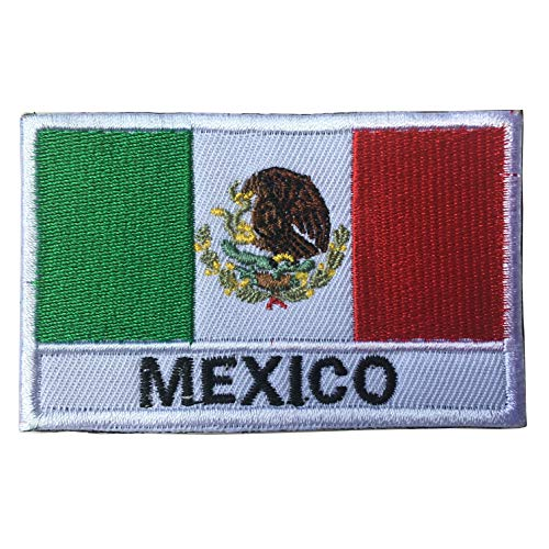 """Mexico National Flag Emblem Embroidered Iron-On Patch (2"""" x 3"""") (Mexico Text)"""