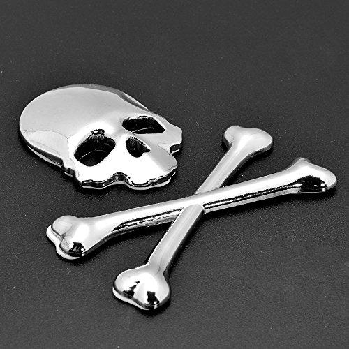Chrome/Black Rear Front Roof Fender Hood 3D Skull Demon Bone Badge Emblem Metal Sticker For Car Sedan Pick Up Truck Vehicle (Chrome)
