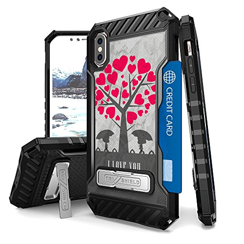 Iphone X Case  Trishield Durable Shockproof High Impact Rugged Armor Phone Cover With Detachable Lanyard Loop Card Slot Built In Kickstand For Iphone X   I Love You