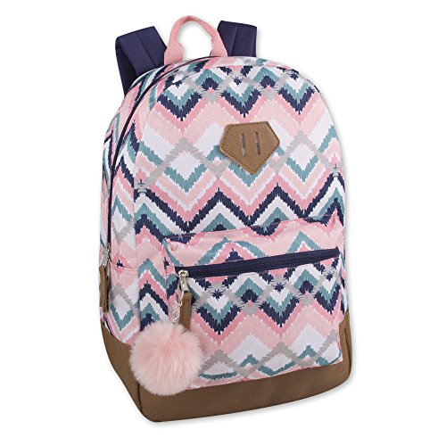 Girls Fashion Backpack With Reinforced Vinyl Bottom and Bonus PomPom Keychain