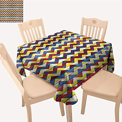 UHOO2018 Decorative Tablecloth Shap in Retro Colors Simple Figur Coat Arms Blue Geen Red Square/Rectangle Kitchen Tablecloth Picnic Cloth,50x 50inch