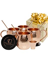 [GIFT SET] Mule Science Moscow Mule Copper Mugs - Set of 4-100% HANDCRAFTED - Pure Solid Copper Mugs 16 oz Gift Set with BONUS: Highest Quality Cocktail Copper Straws, Coasters and Shot Glass!