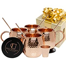 Mule Science Moscow Mule Copper Mugs - Set of 4 - 100% HANDCRAFTED - Pure Solid Copper Mugs 16 oz Gift Set with BONUS: Highest Quality Cocktail Copper Straws, Coasters and Shot Glass!