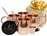 : Mule Science Moscow Mule Copper Mugs - Set of 4 - 100% HANDCRAFTED - Pure Solid Copper Mugs 16 oz Gift Set with BONUS: Highest Quality Cocktail Copper Straws, Coasters and Shot Glass!