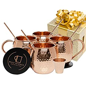 Mule Science Moscow Mule Copper Mugs – Set of 4-100% HANDCRAFTED
