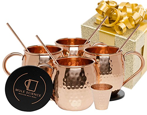 Mule Science Moscow Mule Copper Mugs - Set of 4-100% HANDCRAFTED - Pure Solid Copper Mugs 16 oz Gift Set with BONUS: Highest Quality Cocktail Copper Straws, Coasters and Shot Glass! (Best Vodka Drinks To Order At A Bar)
