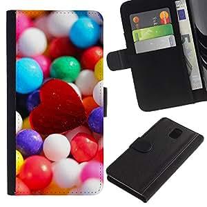 ZONECELL Imagen Frontal Negro Cuero Tarjeta Ranura Trasera Funda Carcasa Diseño Tapa Cover Skin Protectora Case Para Samsung Galaxy Note 3 III N9000 N9002 N9005 - corazón del caramelo