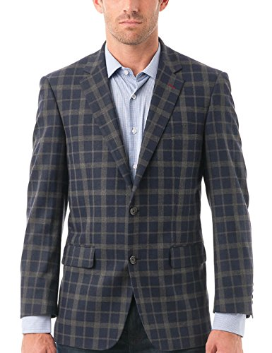 Blazer Button Collar Single (Chama Men's Two Button Single Breasted Classic&Slim Fit Sport Coat Wool Blazer (Navy, 44R))