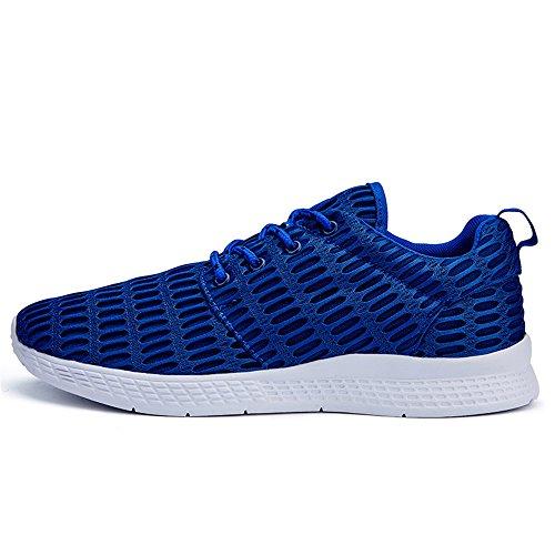BEFAiR Atmungsaktives Mesh Leichte Laufschuhe Casual Lace-Up Sneakers Männer Blau