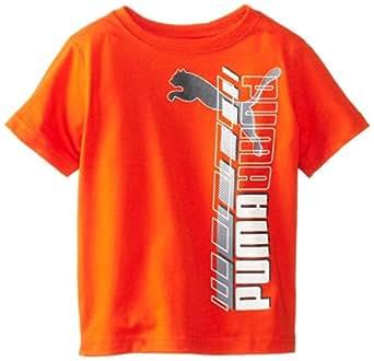 PUMA Little Boys' Vertical T-Shirt, Intense Orange, 2T