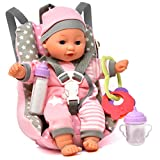 Baby Doll Car Seat with Toy Accessories, Includes 12 Inch Soft Body Doll, Booster Seat Carrier, Diaper Bag with Rattle Toy, Bib and 2 Bottles, A Travel Gift Set for Toddlers Infants Girls and Boys