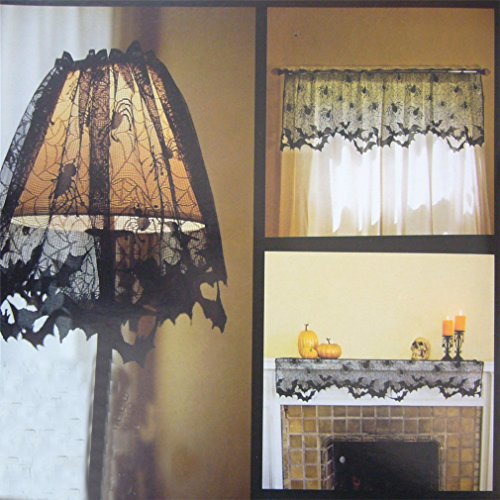 HENGSONG Halloween Decoration Black Lace Spiderweb Lampshade Curtain Fireplace Mantle Scarf Cover Festive Party Supplies (Black Lace Halloween Curtains)