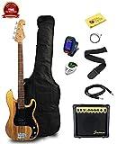 Kyпить Stedman Beginner Series Bass Guitar Bundle with 15-Watt Amp, Gig Bag, Instrument Cable, Strap, Strings, Picks, and Polishing Cloth - Natural на Amazon.com