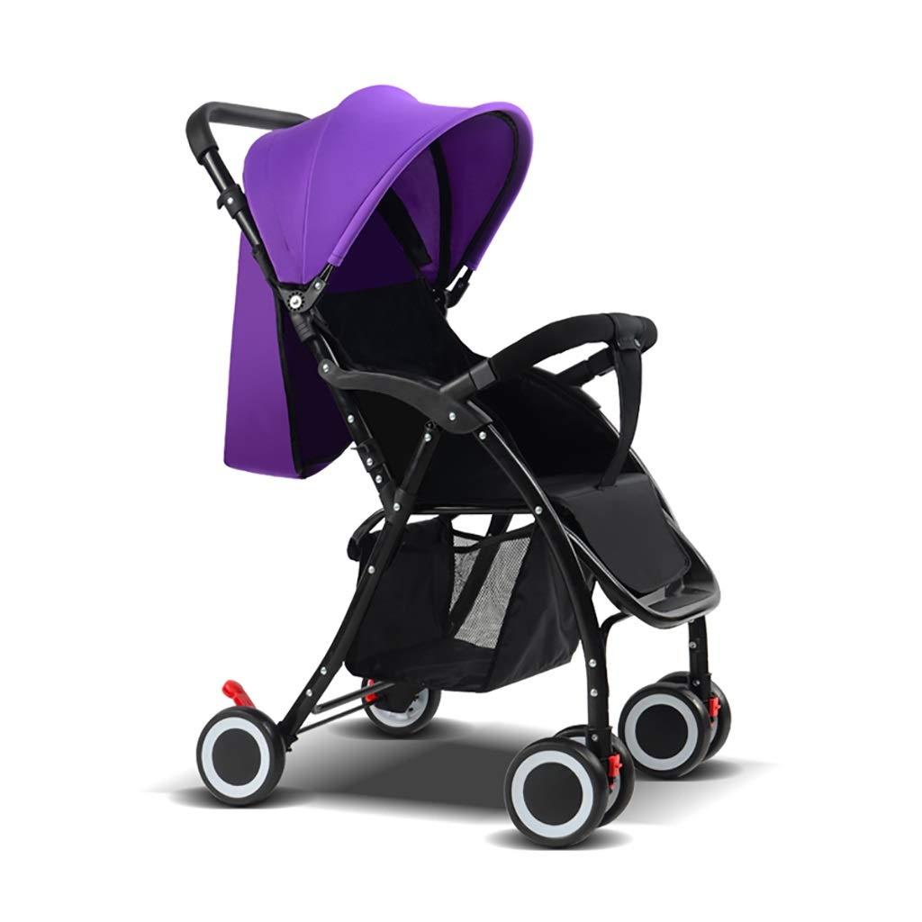 ZUOANCHEN 軽量ベビーカー、軽量傘ライトポータブル折りたたみ子供のトロリーはリクライニング四輪の赤ちゃんのベビーカー、3色を座ることができます (色 : 紫の)  紫の B07QJYYT3X