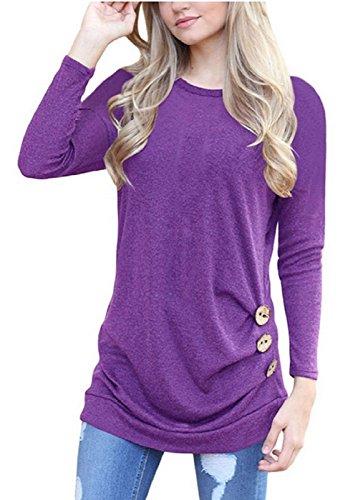 SRYSHKR Women Plus Size Round Neck Shoulders Long Sleeves Thin Waist Button Decoration T-shirt Blouses (XXL, purple)