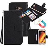 Galaxy A3 2017 Case, Ranyi [Separable Detachable Wallet] [5 Card Slot] [Kickstand Feature] [Detachable Magnetic TPU Case] PU Leather Wallet Case for Samsung Galaxy A3 (2017 Version), black