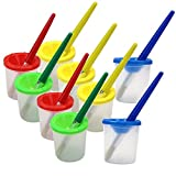 M-Aimee 10 Pieces Assorted Color Spill Proof No-Spill Paint Cups and 10 Pieces Assorted Color Brushes Set