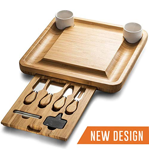 - Wooden Charcuterie Serving Platter with Cutlery Server Knife Set Ceramic Bowls and Slate Chalk Labels & Markers - Perfect Gift Idea ()