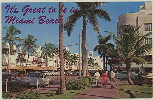 - Lincoln Road Street Scene - Miami Beach Florida - 1958 Vintage Chrome Postcard #G-240