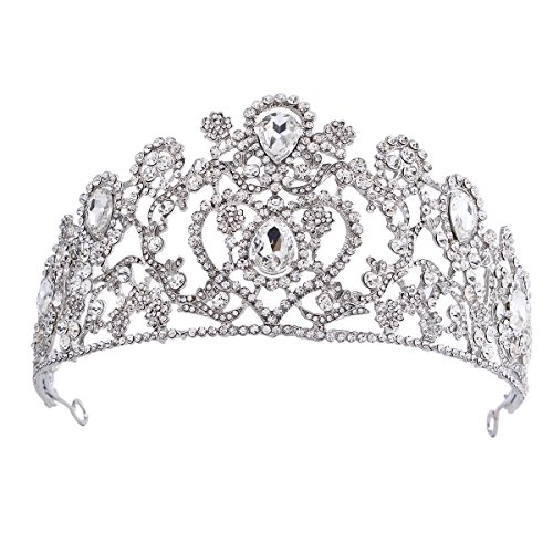 [Santfe Women's Elegant Crystal Rhinestones Teardrop Flowers Heart Bridal Wedding Pageant Prom Crown] (Elegant Bride Costumes)