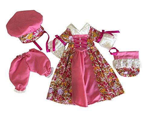 Glamerup: Valeriana PINK 4-pc Set (Historical/Colonial Style Dress, with Hat, Purse and Pantaloons) - Fits Most 18 inch Dolls - Colonial Clothing