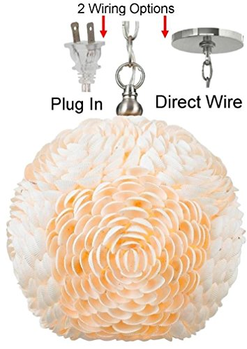 Seashell swag lamp pendant light hanging sea shells lampshade home greentooth Gallery