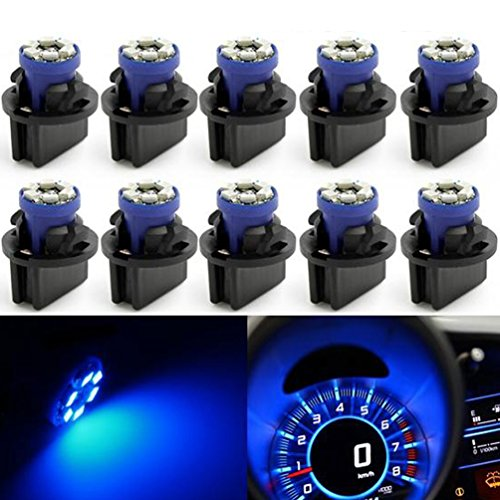 Partsam T10 194 LED Light bulb 168 LED Bulbs Bright Instrument Panel Gauge Cluster Dashboard LED Light Bulbs Set 10 T10 LED Bulbs with 10 Twist Lock Socket – Blue (1969 1970 Charger)