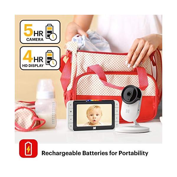 Hi-res Camera Remote Zoom Two-Way Audio KODAK Cherish C520IR Video Baby Monitor /— 5 HD Screen /& Mobile App Night-Vision Long Range and WiFi