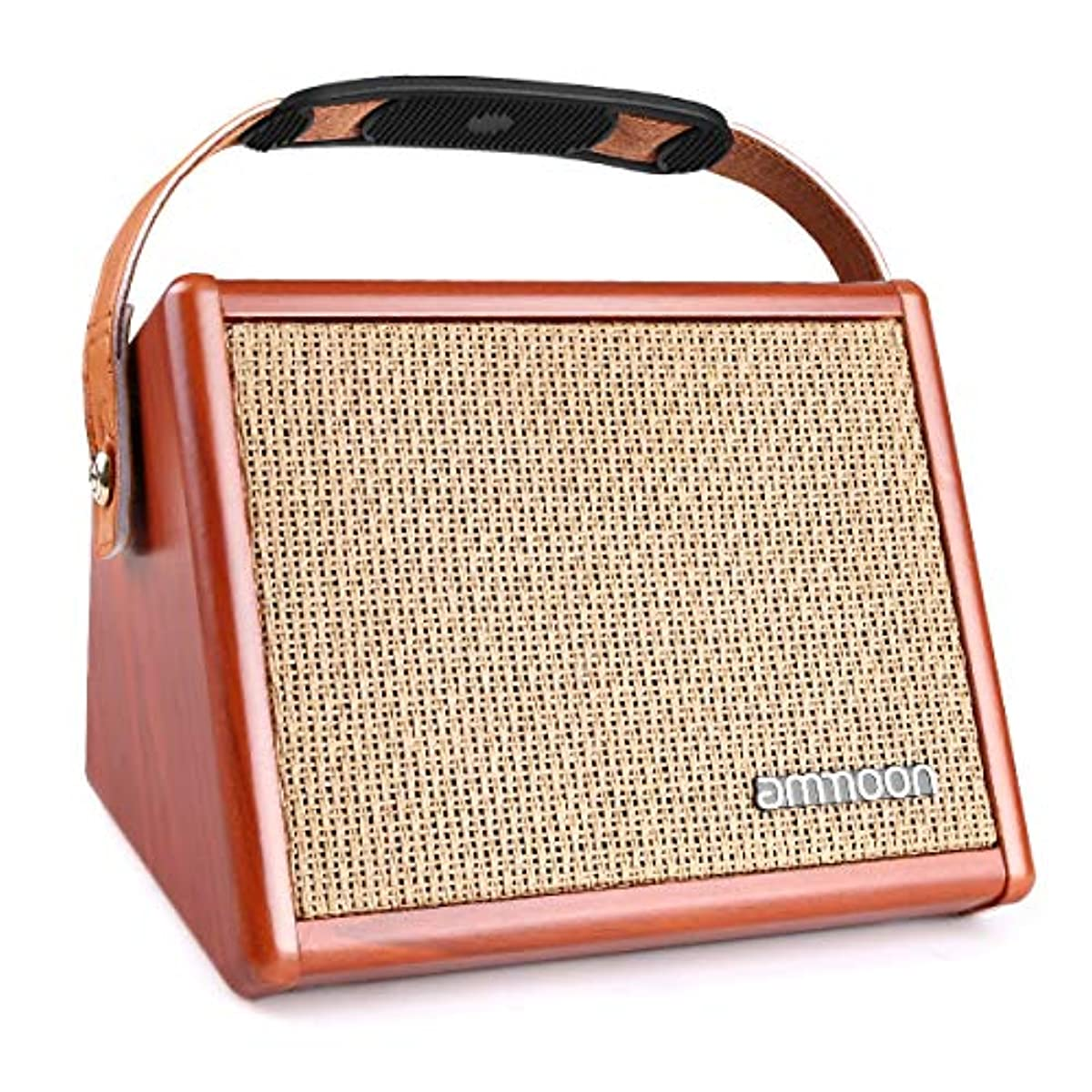 [해외] AMMOON 기타 앰프 어쿠스틱(통기타) 기타 앰프 콤팩트 BT내장 독립 채널 사양 퍼스트 앰프에 최적 헤드폰 사용가 기타 스피커 마이크 충전식 15W