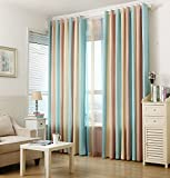AiFish 2 Panels Classic Striped Semi-Blackout Curtains with Blue/Light Yellow/Beige/Brown Stripe Room Darkening Home Decor Window Drapes and Curtains Grommet Top for Living Room W52 x L72 inch Review