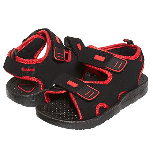 (Skysole Boys Double Adjustable Strap Lightweight Sandals Black/Red 7/8 US Toddler)