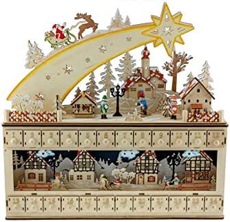 """Clever Creations Shooting Star Snowy Village 24 Day Advent Calendar Premium Christmas Décor 