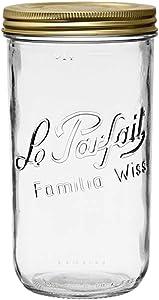 Le Parfait Familia Wiss Terrine - 1.5L Wide Mouth French Glass Mason Jar w/ 2-Piece Gold Lid, 48oz/Quart & Half (Pack of 3)