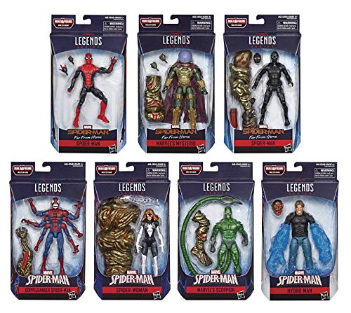 Marvel Legends Infinite 6 Inch Action Figure Spider-Man Molten Man Series - Set of 7 (BAF Molten Man)
