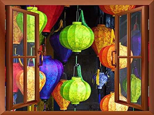 Copper Window Looking Out Into Colorful Japanese Lanterns with Designs on Them Wall Mural