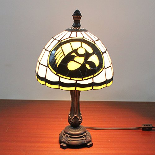 Gweat 9-inch NCAA Iowa Hawkeyes Stained Glass Table Lamp (Glass Iowa Stained)