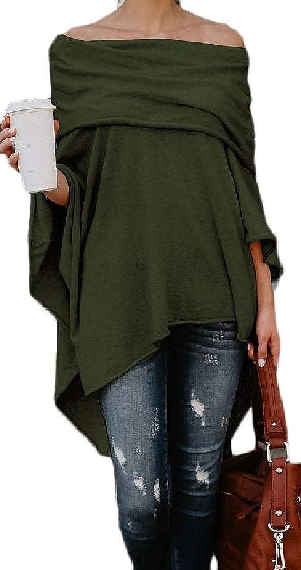 Joe Wenko Womens Off Shoulder Irregular Blouse Flare Sleeve Casual T-Shirts