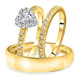 Smjewels 1/4 Carat T.W. Diamond Halo Heart Trio Matching Wedding Ring Set 10K Yellow Gold Fn