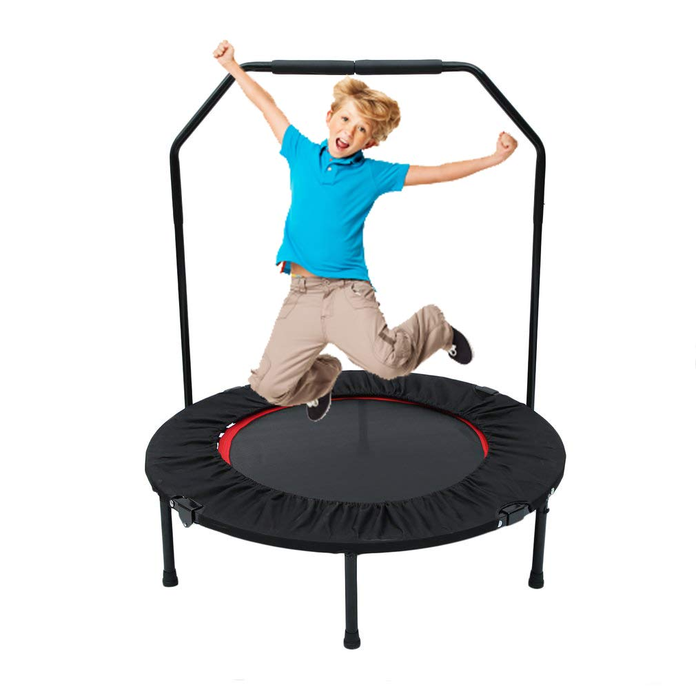 Belovedkai 40'' Foldable Rebounder Trampoline with Hand Rail Bouncing Workout Training Exercise