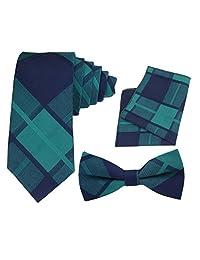 Ukerdo Grid Slim Neck Tie Cotton Pocket Square Formal Bow Tie Set for Men - Blue & Green