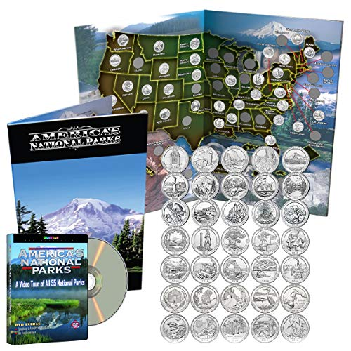 National Parks Collection - National Park Quarters Complete Date Set 2010-2016, First 35 America the Beautiful Coins in Deluxe Color Book + DVD