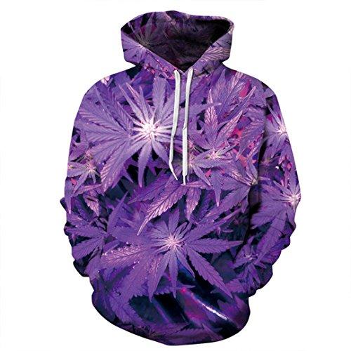 3D Hoodie 3D Purple Weed Leaf Print Sweatshirt Fashion Hip H Hooded Sweatsuits