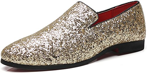 Men Gold Shoes (Men's Modern Sequins Loafers Slip-on Glitter Nightclub Shoes (11.0, Gold))