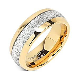 100S JEWELRY Mens Wedding Bands Tungsten Gold Rings Comfort Fit Imitated Meteorite Inlaid 5-16 with Half Sizes