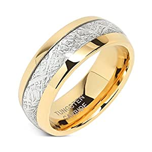8mm Mens Tungsten Carbide Ring Imitated Meteorite Inlay 14k Gold Plated Jewelry Wedding Band Size 5-16 (5)