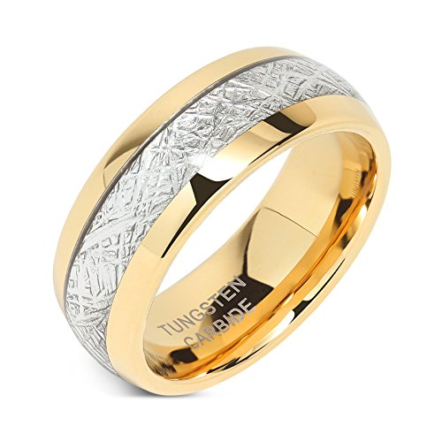 8mm Mens Tungsten Carbide Ring Imitated Meteorite Inlay 14k Gold Plated Jewelry Wedding Band Size 5-16 (5) ()